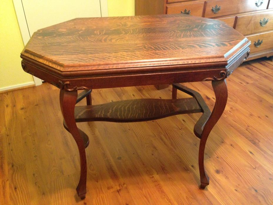 Antique Oak Table or Desk for Parlor Library Lamp