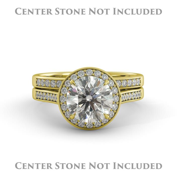 Round Halo Semi Mount Bridal Engagement Ring Set Band Ring Solid 18k Yellow Gold
