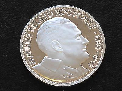 Franklin D. Roosevelt Sterling Silver Coin Medal Franklin Mint D0964