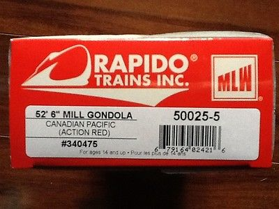 RAPIDO 1/87 HO CP RAIL ACTION RED 52.6' MILL GONDOLA CAR #340475 ITEM # 50025-5