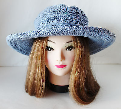 Scala Collection Wide Brim Floppy Hat Sun Cotton Girls Blue