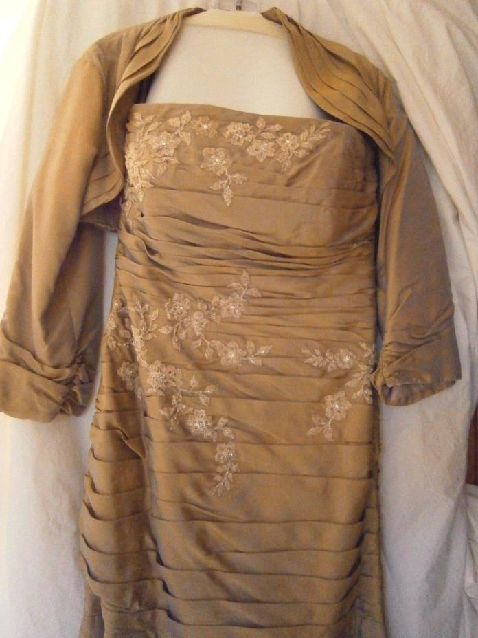 JADE STRAPLESS TAUPE WEDDING BRIDESMAID FORMAL GOWN with CAPE SZ 12