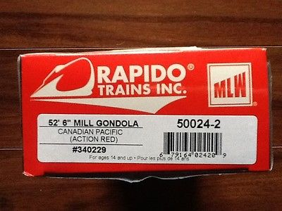 RAPIDO 1/87 HO CP RAIL ACTION RED 52.6' MILL GONDOLA CAR # 340229 ITEM # 50024-2