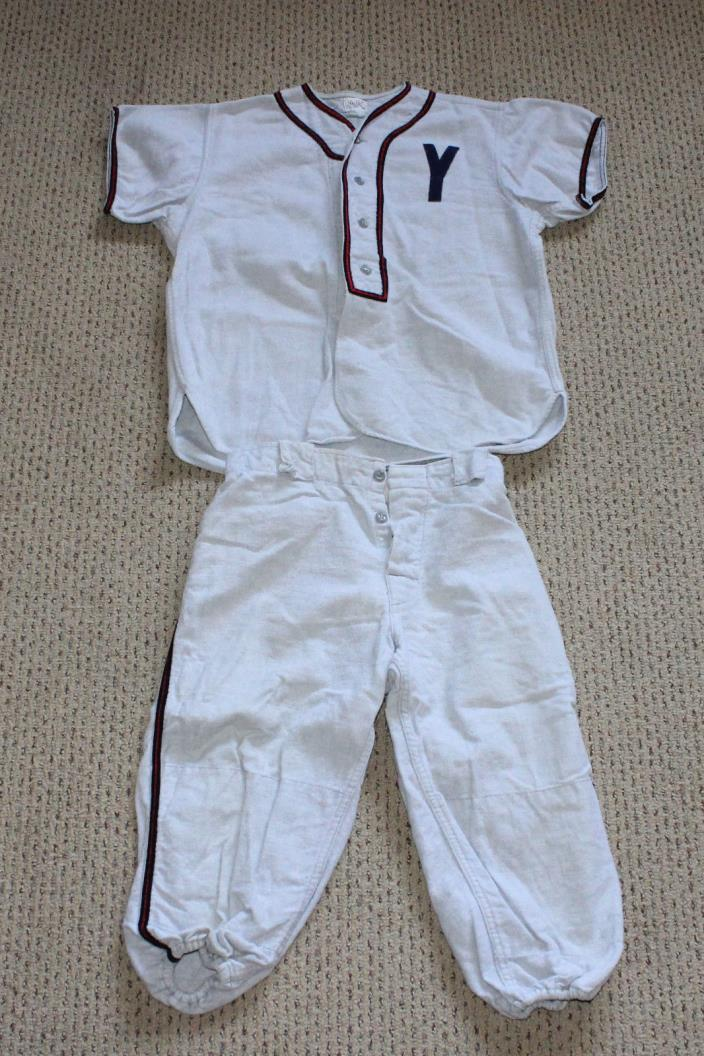Vintage 50s WOOL Flannel YOUTH High School BASEBALL Uniform SET Pants JERSEY