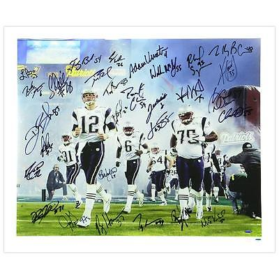 TOM BRADY & 2004 PATRIOTS TEAM SIGNED SUPER BOWL 39 CANVAS * 29 AUTOS TRI-STAR