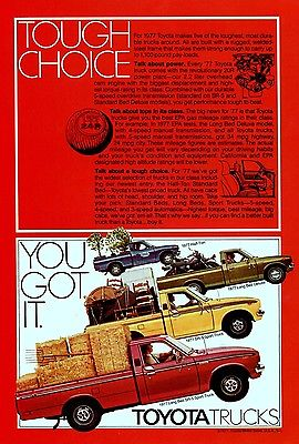 1977 Toyota Truck Print Ad SR-5 Truck, Small Pickup, 1970s Japanese Car