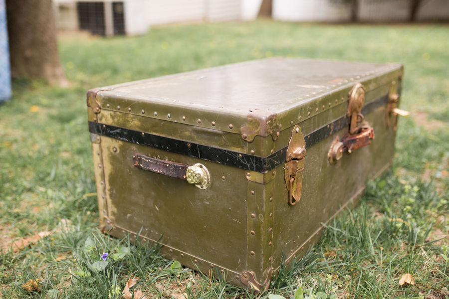 Antique Military Green Trunk