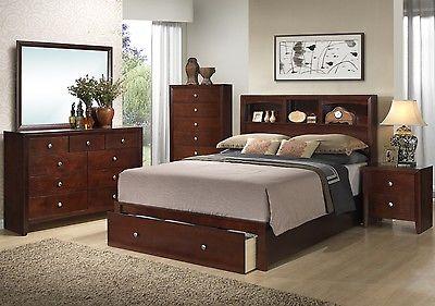 Poundex Furniture F9282CK California King Bed Nightstand Dresser Mirror Chest