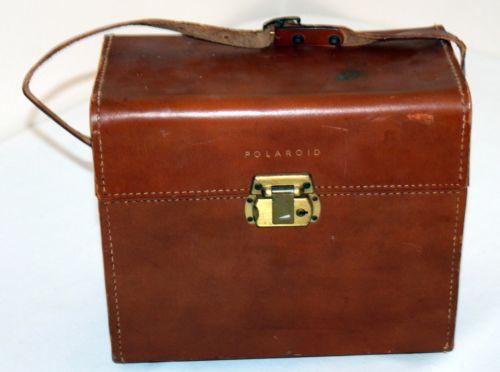 Vintage Hard Sided Leather Polaroid Camera Case + Strap Costume Purse Steampunk