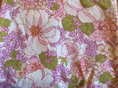 Fieldcrest Perfection Percale Queen Flat Fitted Pink Purple Floral Vintage Sheet