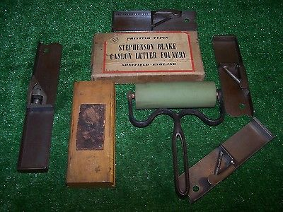 VINTAGE ANTIQUE PRINTING LOT LETTERPRESS, COMPOSITION STICKS, ROLLER, TYPE BOX
