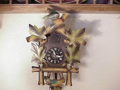 Vintage Made in Germany  Cuckoo Clock~ Bird & Leaves ~  w/ 2 gold colored leaves
