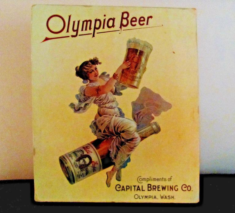 RARE Vintage Olympia Beer Victorian Girl Poster Board Self Standing Sign-19 x 16