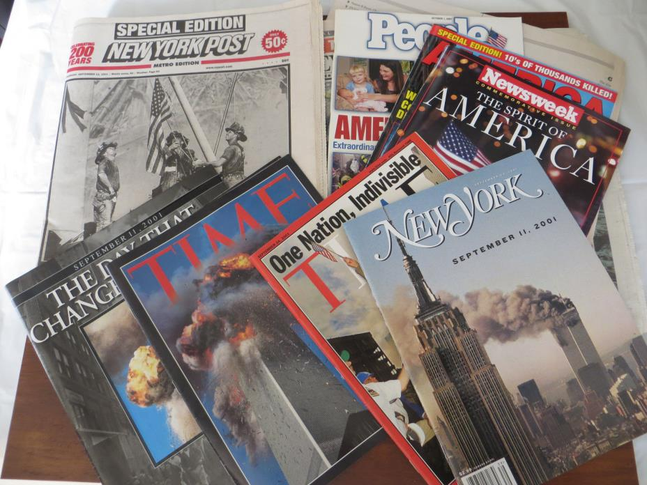September 11, 2001 Periodicals 7 mags 4 papers Time, New York Mag, NY Post 9/11