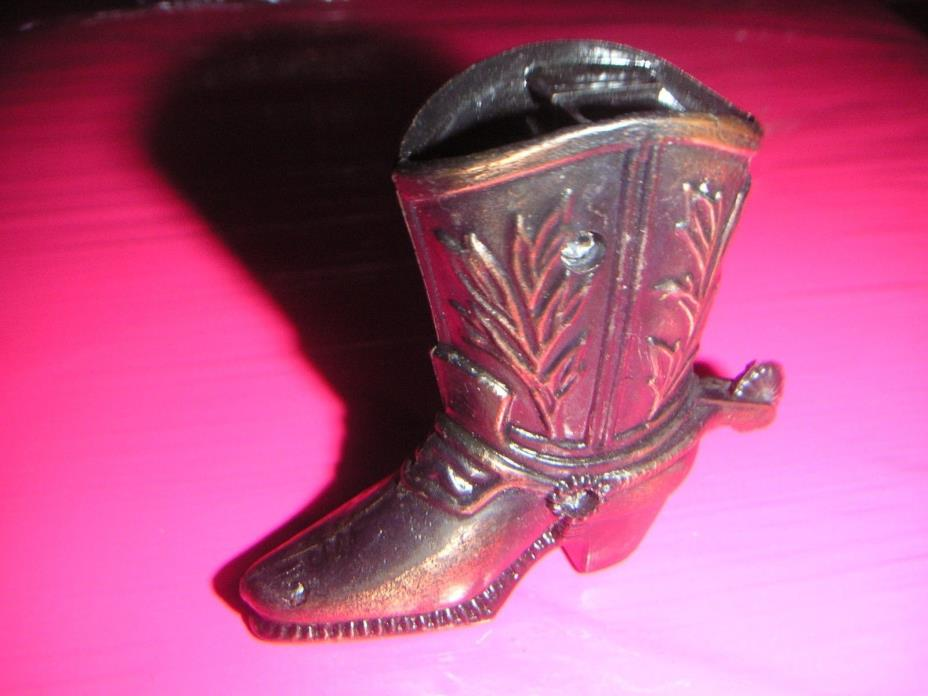 Diecast Miniature COWBOY BOOT Pencil Sharpener Cowboy Boot Coppertone Finish