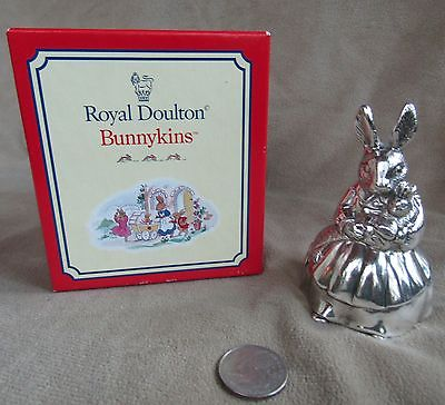 NEW Royal Doulton Bunnykins Music Box Silverplated 1998 Brahm's Lullaby Rabbit