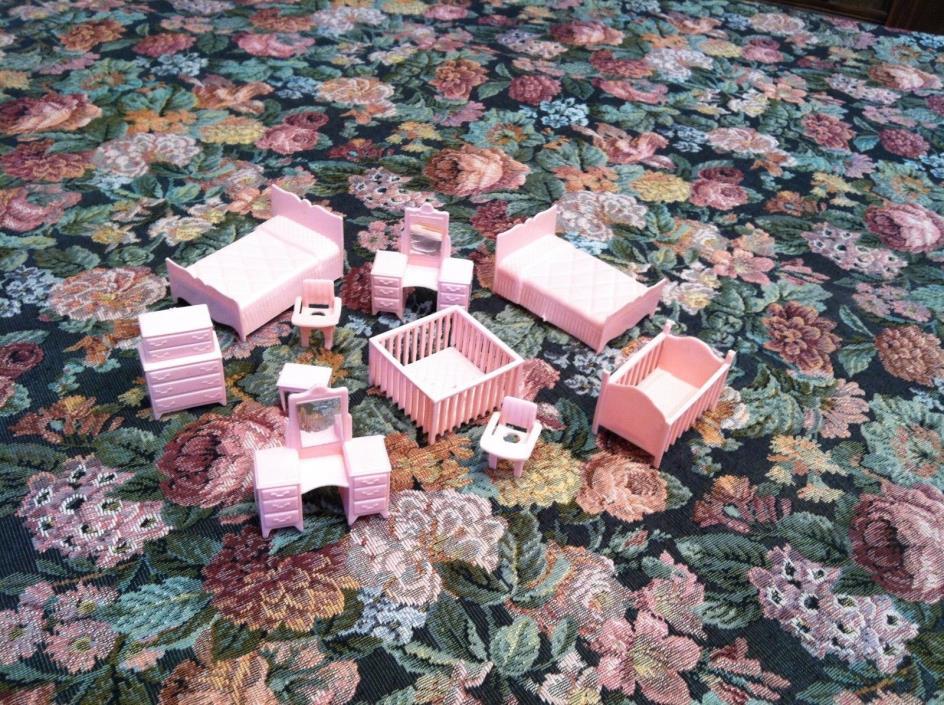 Vintage Plastic Dollhouse Furniture pink