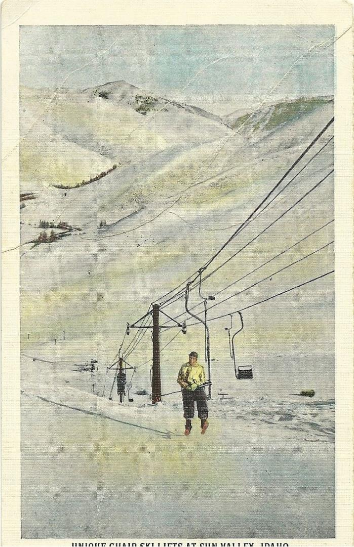 B268 Unused Postcard - Unique Chair Ski Lifts at Sun Valley, Idaho