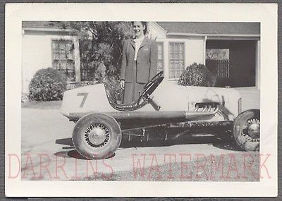 Vintage Photo Woman w/ Dirt Track Racing Car 731776