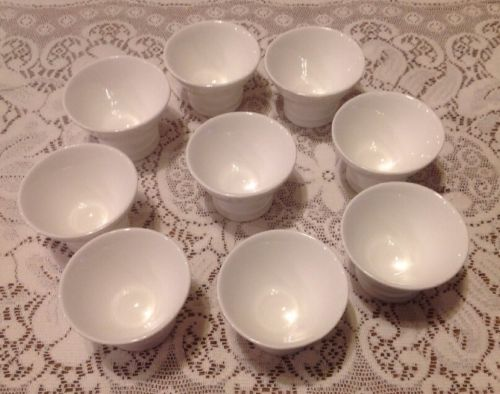 Unique LOT of 9 Crate & Barrel White Pedestal Footed Open Salt Cellars Saki Cups