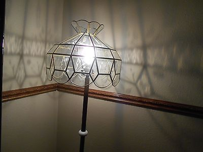 SPARKLING STAINED GLASS  LAMP SHADE ETCHED AND RIPPLED GLASS