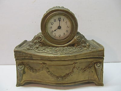Antique Clock Mounted On Metal Jewelry Box