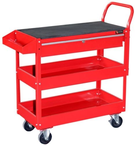 Excel Steel Tool Cart Red Rolling Storage Box Heavy Duty Portable Cabinet New