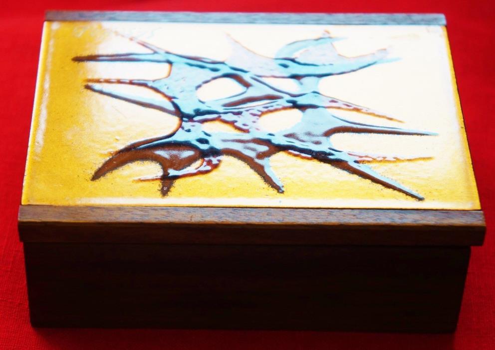 Vintage Sascha Brastoff  Trinket Box Copper Glazed Solid Walnut
