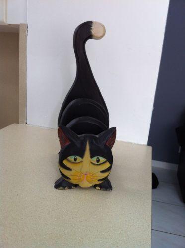 VINTAGE WOODEN CAT LETTER/CARD HOLDER