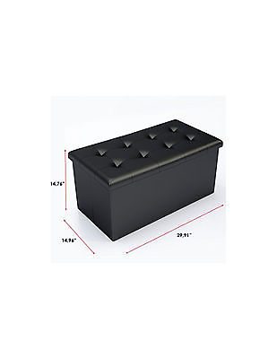 Black Faux Leather Ottoman Storage Bench -Great as a Double Seat or a Footstool