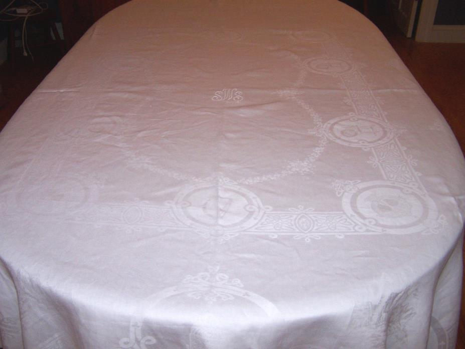 VINTAGE IRISH LINEN DOUBLE DAMASK TABLECLOTH: CELTIC CROSS, CASTLE, WOLFHOUND
