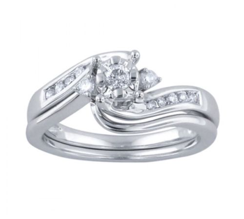 10K White Gold Wedding Engagement Ring Set Size 9