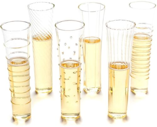 Stemless Champagne Flutes Set of 6 Glass Glasses Elegant Design