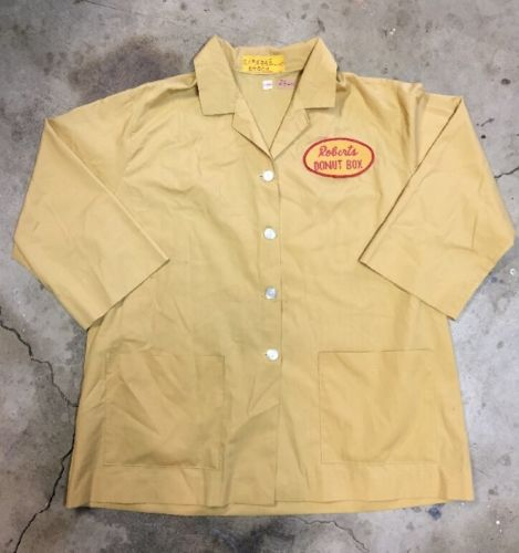 VTG Roberts Donut Box Uniform Work Shirt Workwear sz XL