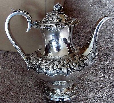 ANTIQUE REPOUSSE ENGLISH STERLING SILVER TEAPOT