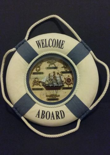 WELCOME ABOARD Wall Decor Life Preserver Nautical Knots Sailing Boating