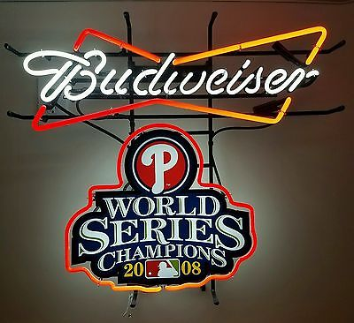 BUDWEISER PHILLIES WORLD SERIES NEON BAR LIGHT