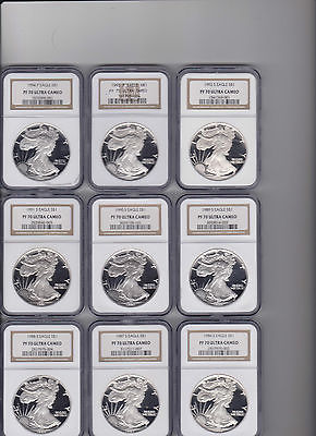 1986-2016 38-Coin Proof Silver American Eagle Set PF-70 NGC no 1995 W Free S&H