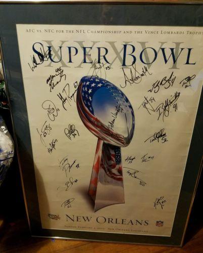 2001 Super bowl team signed framed matted brady psa rare