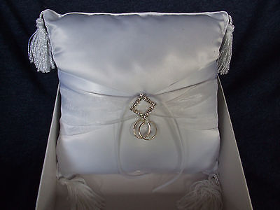 Lillian Rose White Satin and Diamonds Ring Pillow,