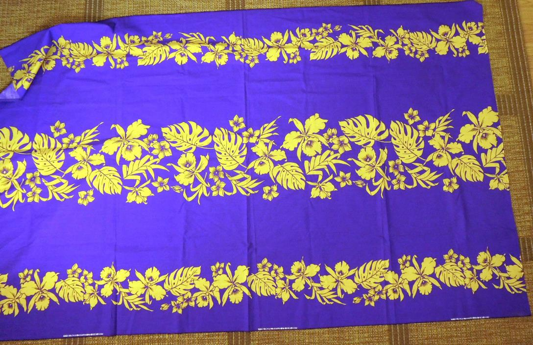 Hawaiian Fabric 2 yards Purple & Yellow Orchids hula cloth
