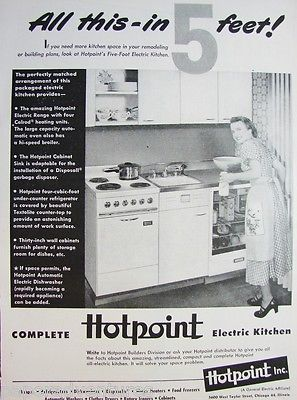 1950 HOTPOINT Electric 5Foot KITCHEN Range Refrigerator Cabinets Sink Vintage Ad