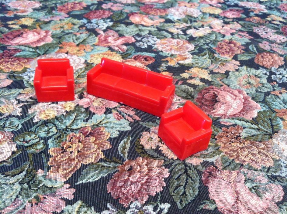 Vintage Plastic Dollhouse Furniture Red