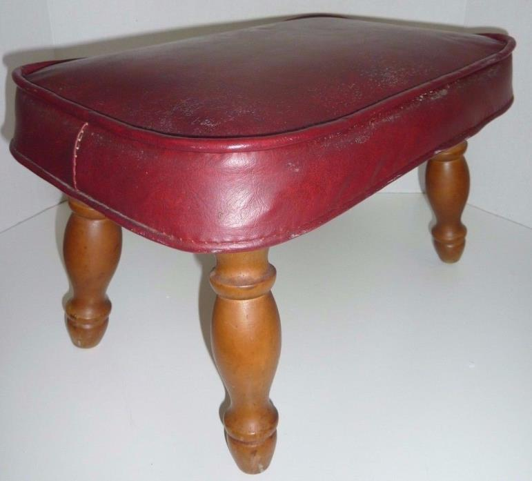 Vintage Mid-Century Red Leather Foot Stool Ottoman Chair 4 Wooden Carved Legs
