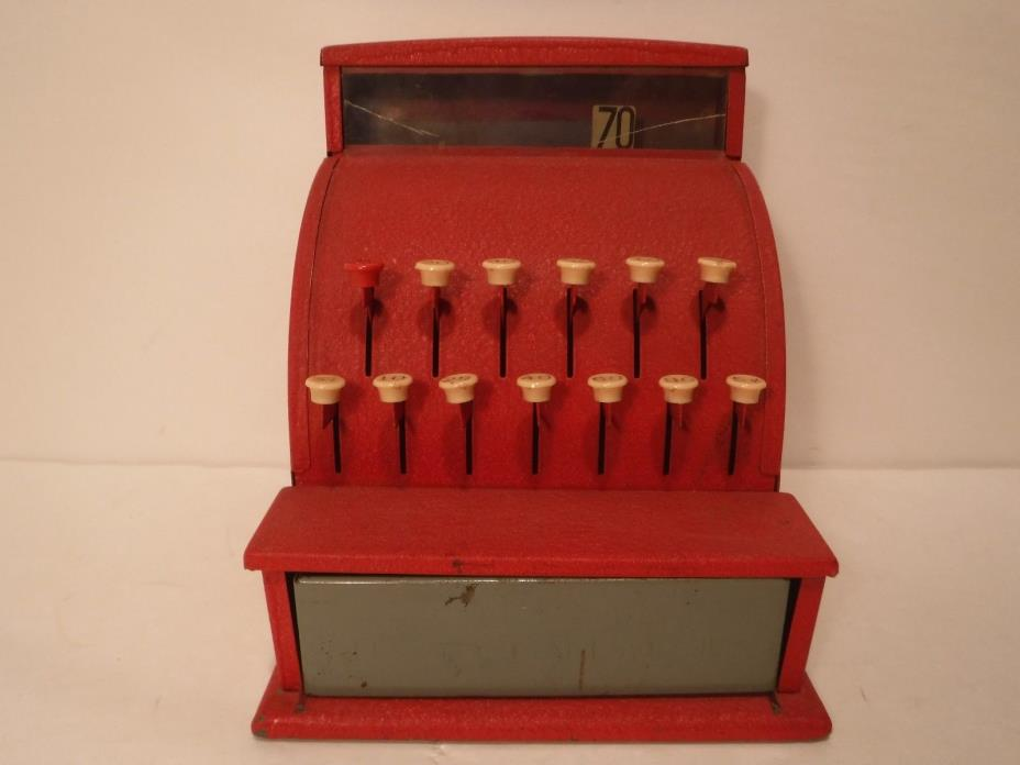 Vintage Red Tom Thumb Toy Cash Register Metal Western Stamping Co Plastic Coins