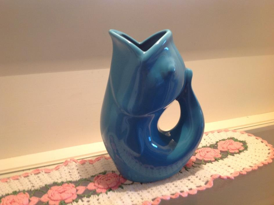 Gurgle Pot Fish Pitcher Aqua