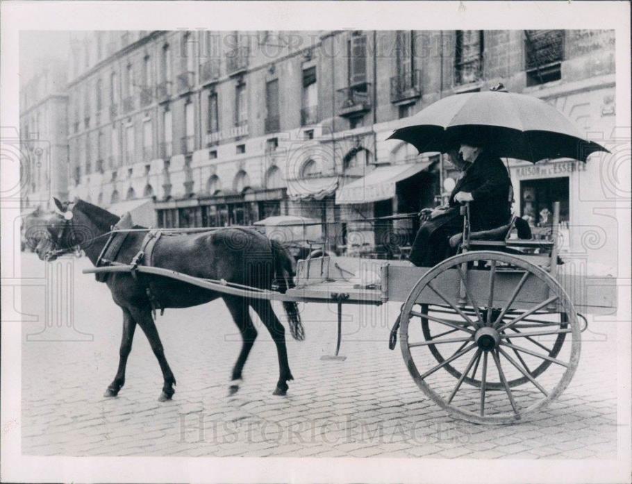 1936 Lyon France Horse Drawn Carriage Press Photo
