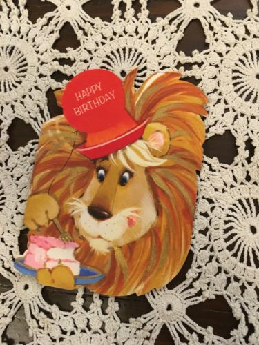 Vintage Greeting Card Birthday Lion Cake Hat
