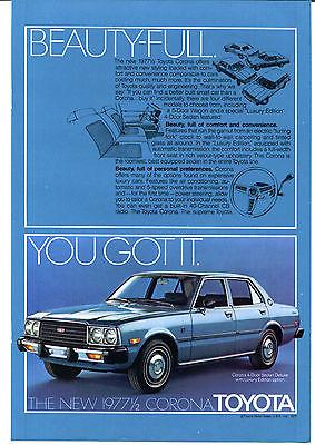 1977 Toyota Corona 4 Door Sedan Print Ad