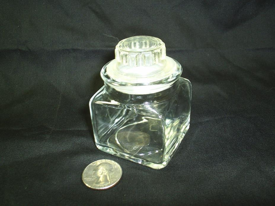 Vintage Glass Spice Jar Bottle Lid Apothecary